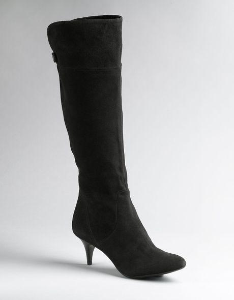calvin klein jonie suede knee high boots in black black