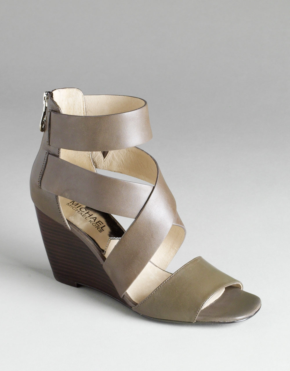 michael by michael kors wedge sandals in gray grey