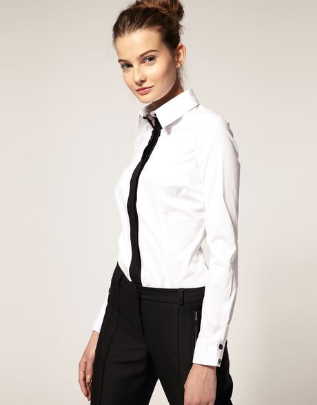 Asos Collection Asos Shirt with Contrast Placket in White - Lyst