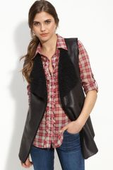 Echo Faux Leather Vest with Faux Shearling Lining - Lyst