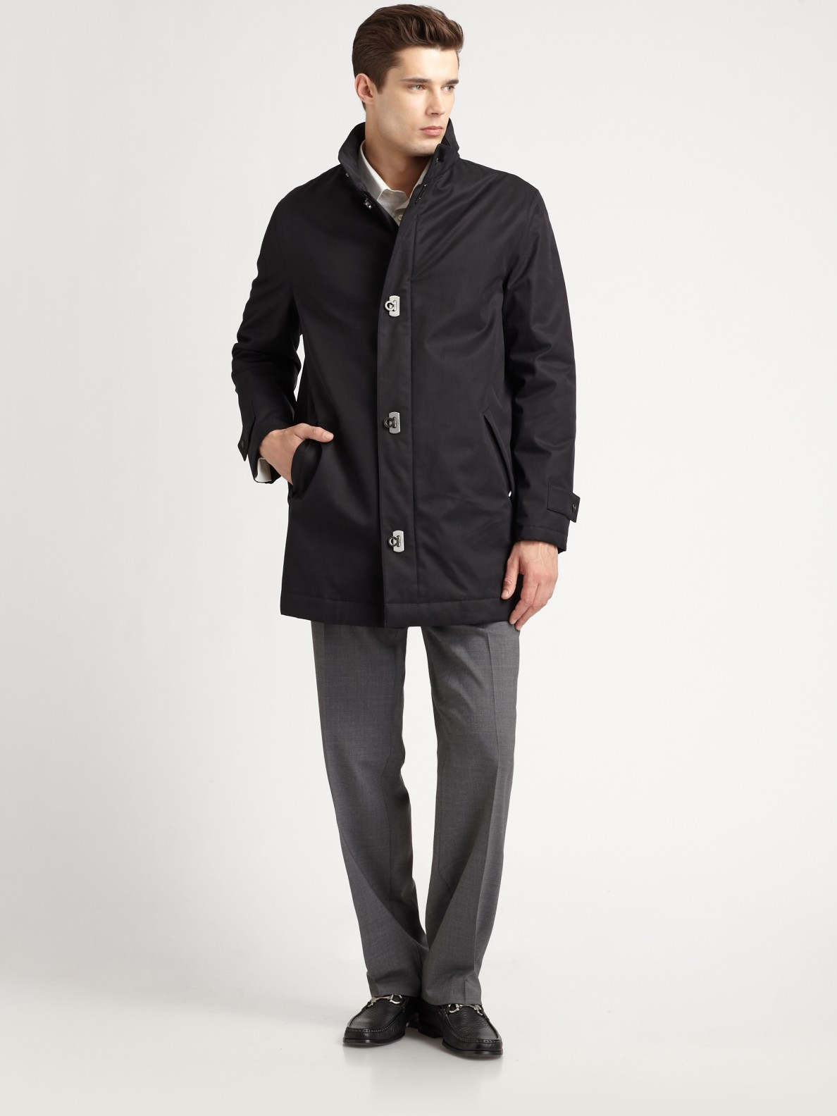 Ferragamo Cotton Car Coat in Black for Men | Lyst