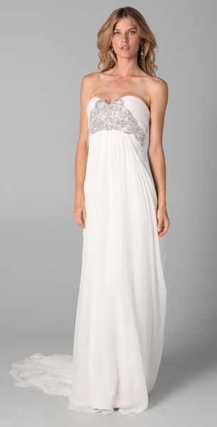 Marchesa Silk Crepe Gown with Embroidered Bodice in White