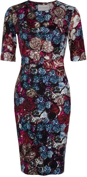 Mary Katrantzou Wild Rose Jersey Dress in Pink (rose) - Lyst