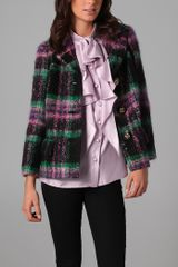 Milly Mohair Plaid Stanley Jacket - Lyst