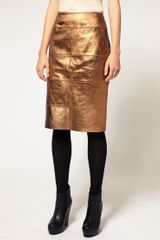 River Island Metallic Leather Pencil Skirt in Gold - Lyst