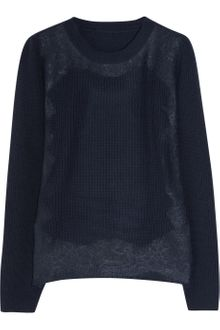 Valentino Lace-appliquéd Merino Wool-blend Sweater - Lyst