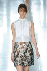 Christopher Kane Spring 2012 Silver A-Line Mini Skirt With Gold Flower Pattern - Lyst