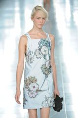 Christopher Kane Spring 2012 Gray Mini Sleeveless Cocktail Dress With Flower Patern - Lyst