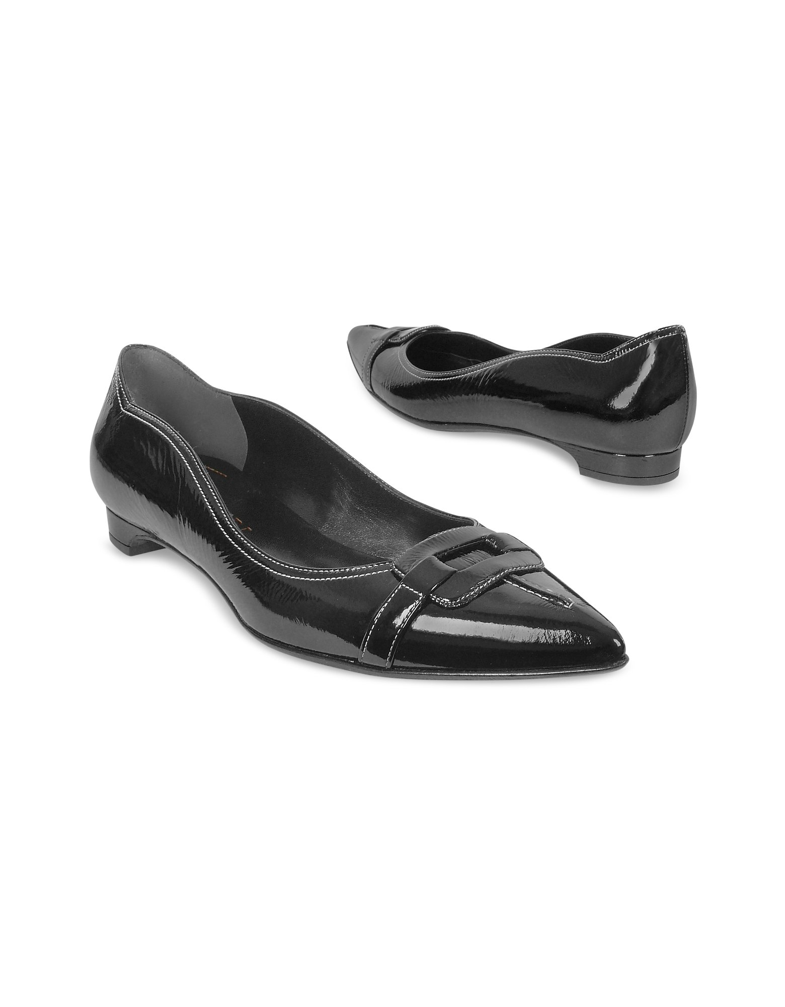 forzieri black patent leather ballerina flat shoes in