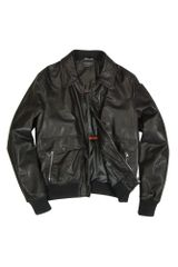 Forzieri Mens Black Leather Motorcycle Jacket in Black for Men - Lyst
