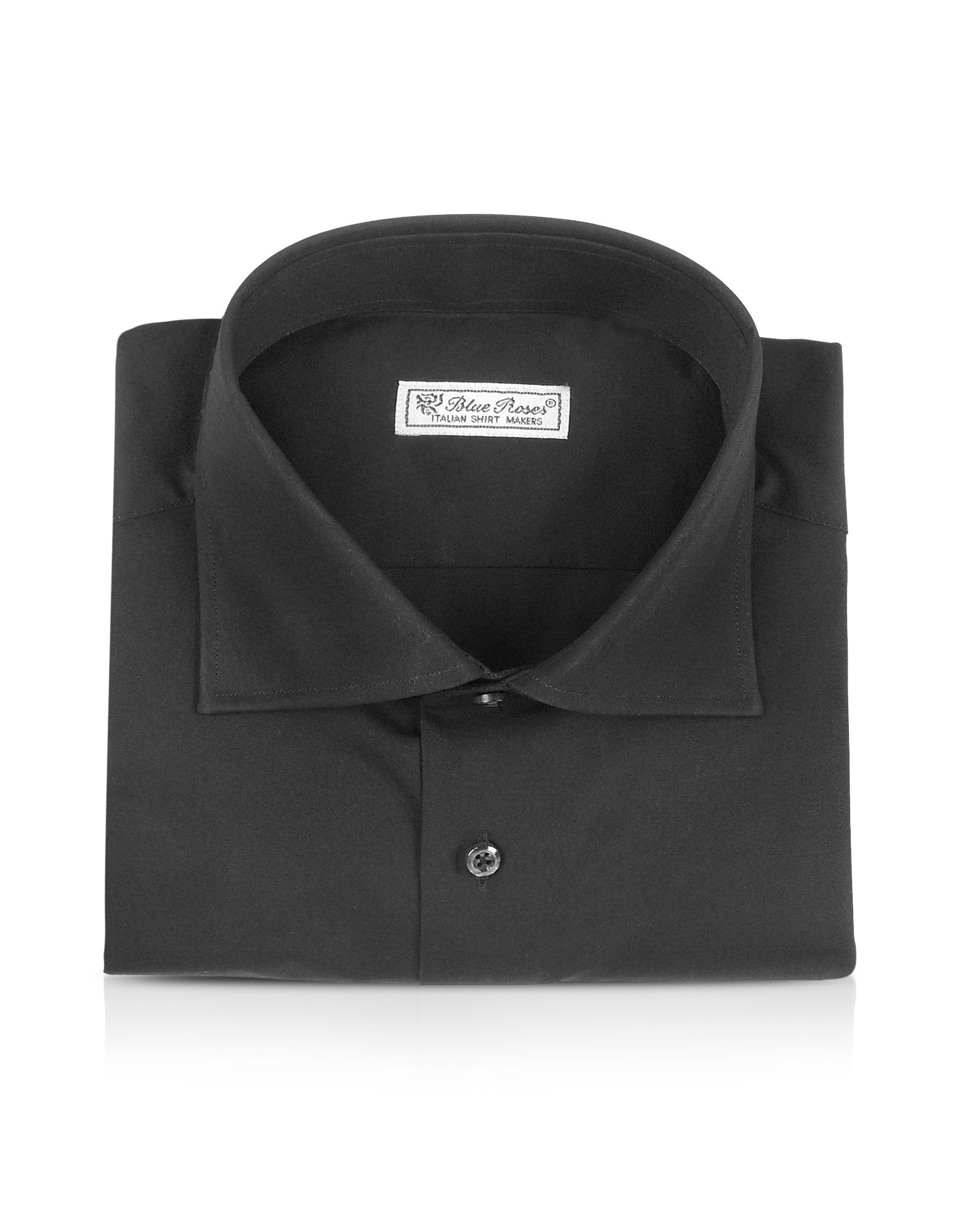 Forzieri blue roses solid black wide spread collar for Wide spread collar shirt