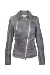 Forzieri Grey Asymmetrical Zip Leather Jacket - Lyst