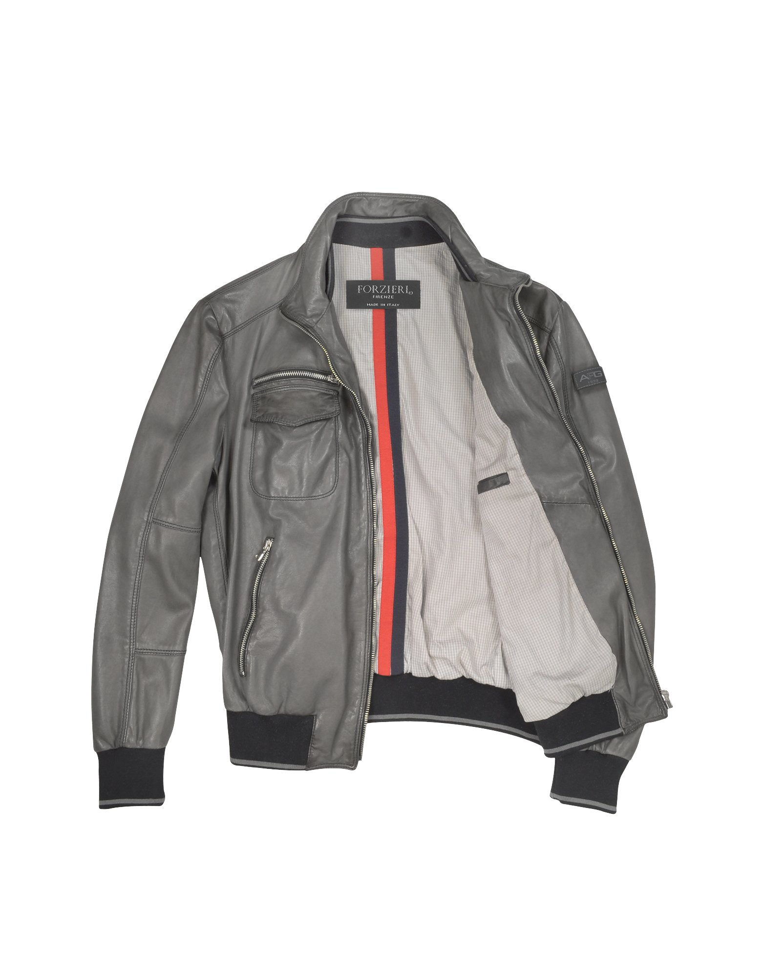 Forzieri Mens Dark Grey Leather Bomber Jacket in Gray for Men | Lyst