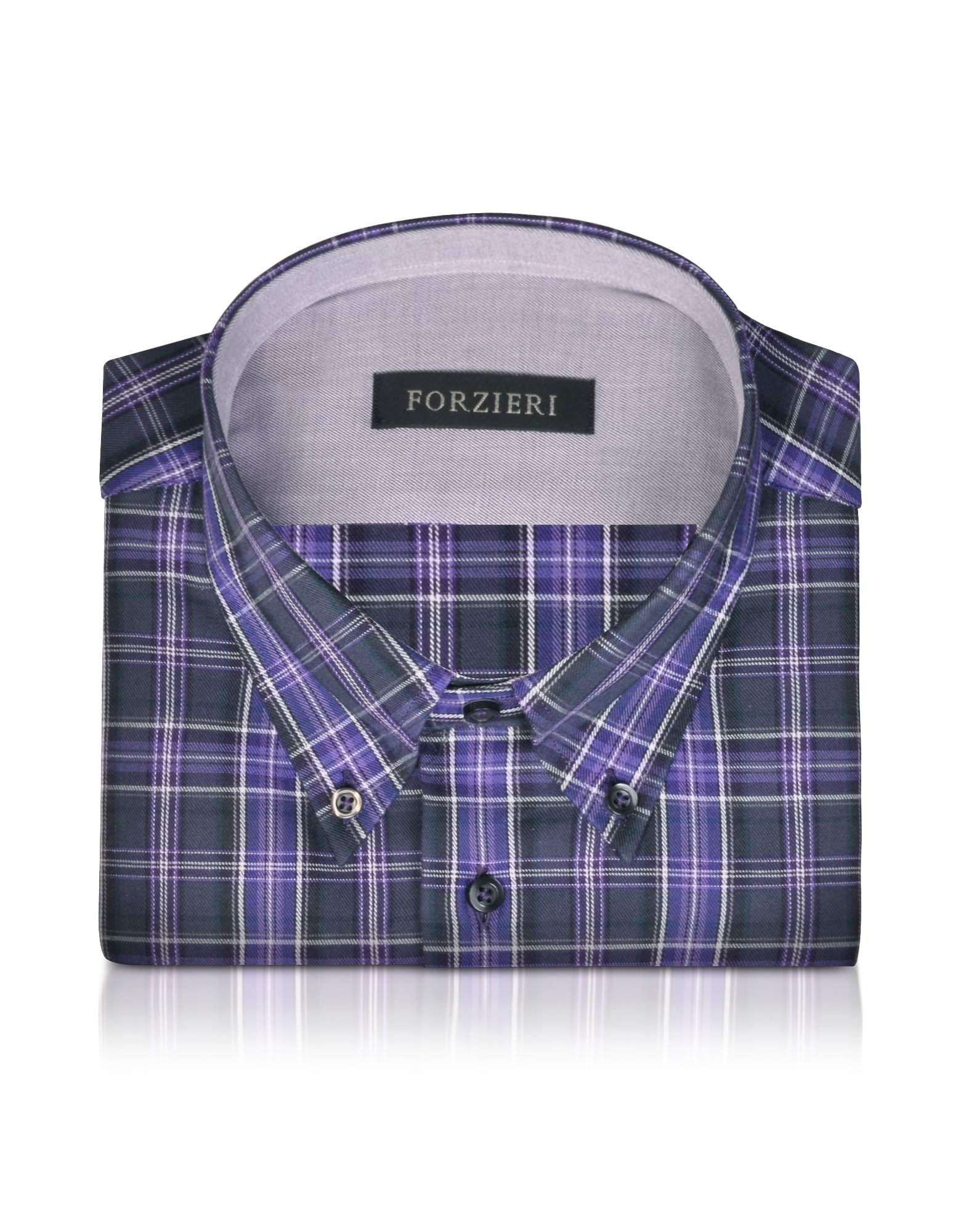 Forzieri Purple Plaid Slim Fit Button Down Cotton Dress
