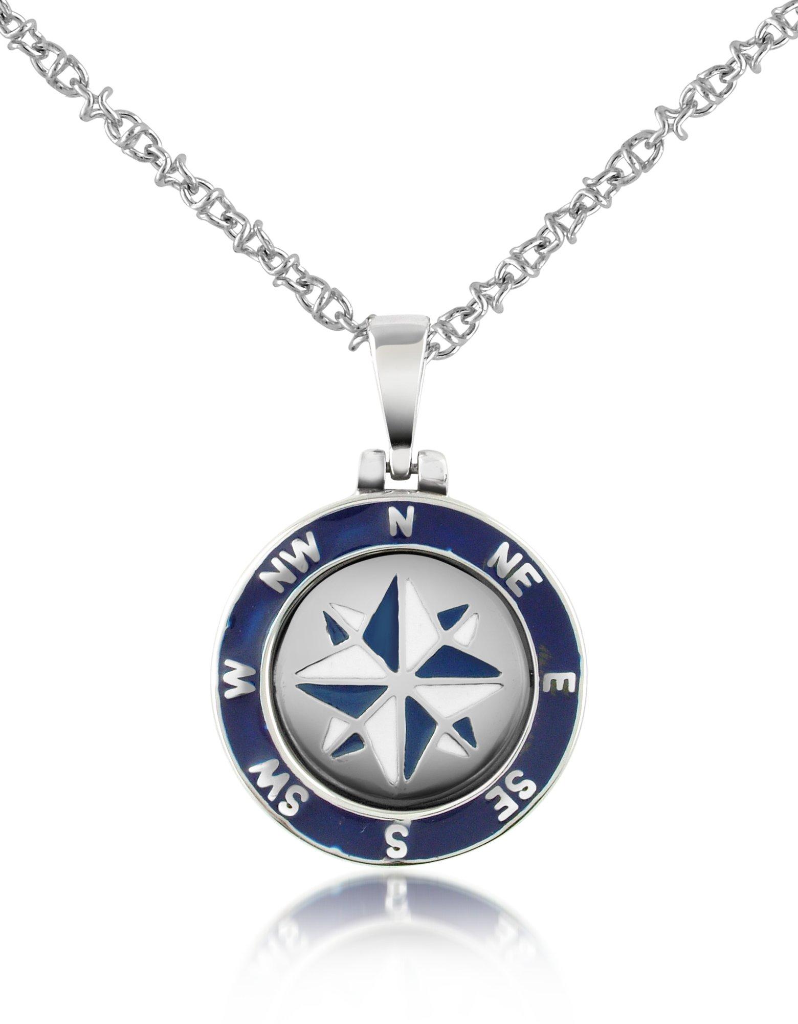 Forzieri stainless steel windrose pendant necklace in for Stainless steel jewelry necklace