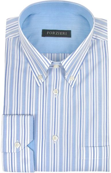 Forzieri White And Blue Striped Cotton Button Down Dress
