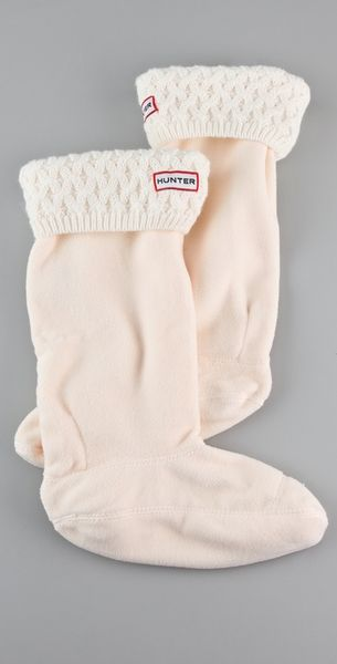 Hunter Basket Knit Welly Socks in White (ivory) - Lyst