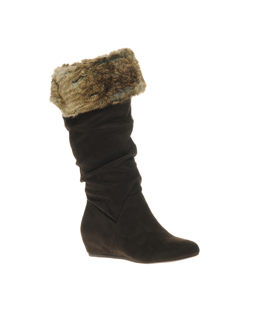 report report enfield wedge knee high boots with faux fur