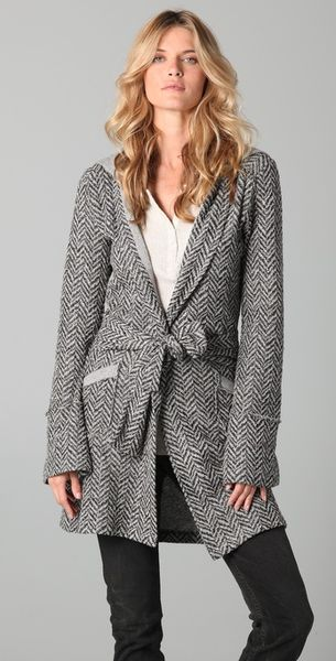 Nightcap Clothing Herringbone Hoodie Coat in Gray (black) - Lyst