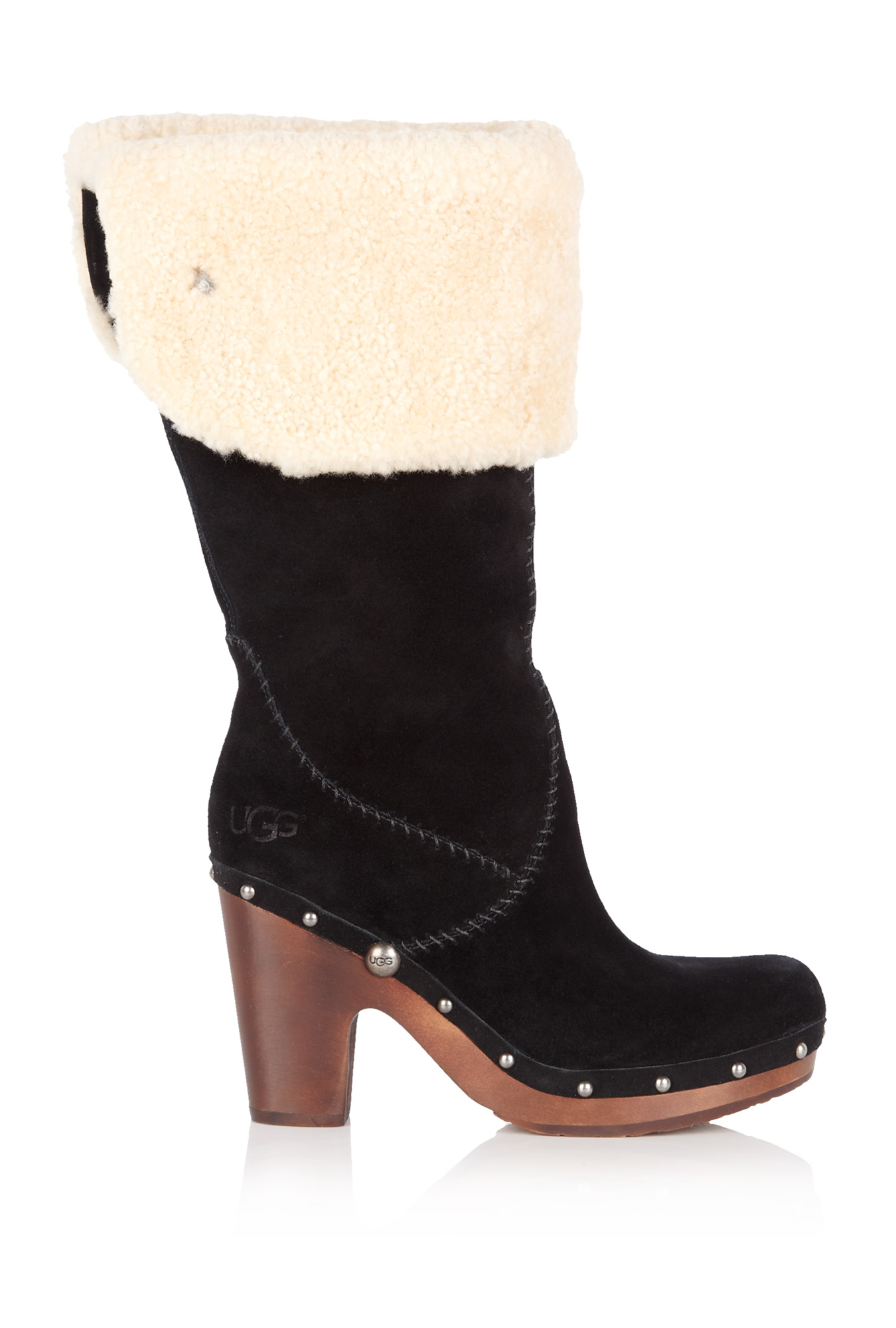 ugg black lilian knee high clog boot in black lyst