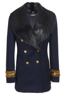 Alexander McQueen Fleece-wool Military Coat with Fur Collar - Lyst