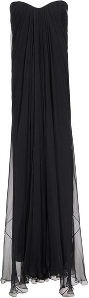 Alexander Mcqueen Draped Silk Chiffon Bustier Gown in Purple (prune) - Lyst