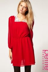 ASOS Collection Asos Petite Exclusive Mini Dress with Crochet Collar - Lyst