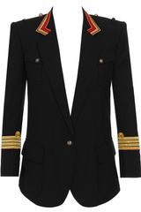 Balmain Woolblend Military Jacket with Piping in Black (black gold) - Lyst