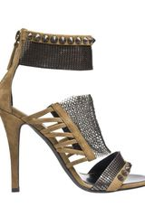 Balmain Suede Sandal with Chainmail Detail in Khaki - Lyst