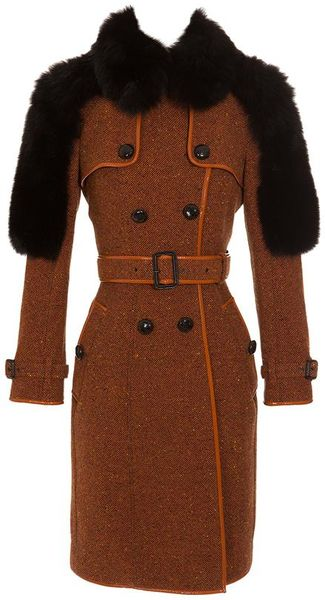 Burberry Prorsum Wool Tweed Trench Coat with Fox Fur Panels in Orange
