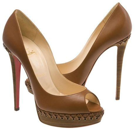Christian Louboutin Lady Indiana Braided Leather Platform Pumps in Brown