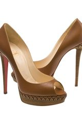 Christian Louboutin Lady Indiana Braided Leather Platform Pumps in Brown - Lyst