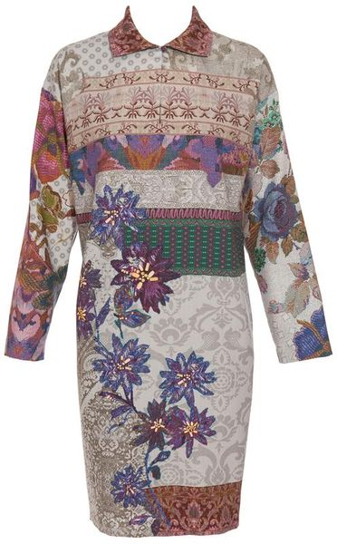 Etro Floral Printed Wool and Silk Shirt Dress in White (white multi) - Lyst