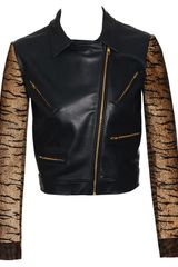 House Of Holland Leather Biker Jacket with Calf Hair Arms in Blue (navy) - Lyst