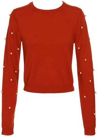House Of Holland Merino Wool Jumper with Pearl Sleeves - Lyst