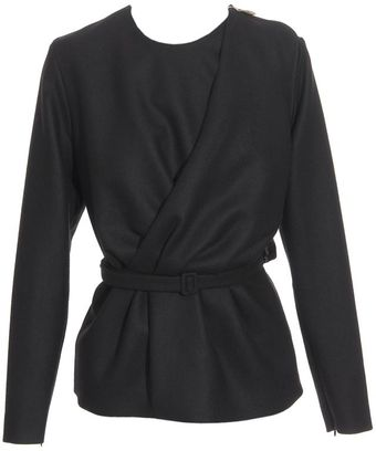 Maison Martin Margiela Double Front Stretch Wool Jacket with Belt - Lyst