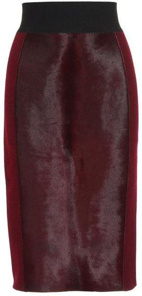 Marc Jacobs Highwaisted Wool Knit and Lamb Hair Pencil Skirt in Purple (burgundy) - Lyst