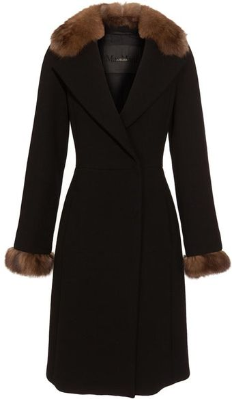 Max Mara Atelier Molina Virgin Crepe Wool Coat with Sable Collar - Lyst