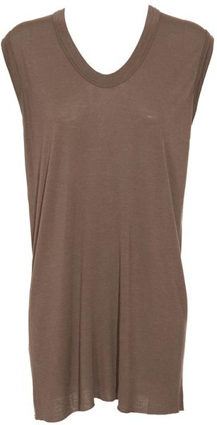 Rick Owens Silkblend Top in Brown (dust) - Lyst
