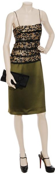 Ruffian Embellished Silk-satin Dress in Green (moss)
