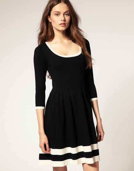 Asos Collection Asos Contrast Fit and Flare Knitted Dress in Black - Lyst