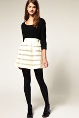 ASOS Collection Asos Full Skirt in Velvet and Mesh Stripe - Lyst