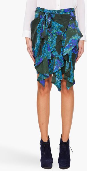 Edun Printed Skirt in Green (olive) - Lyst