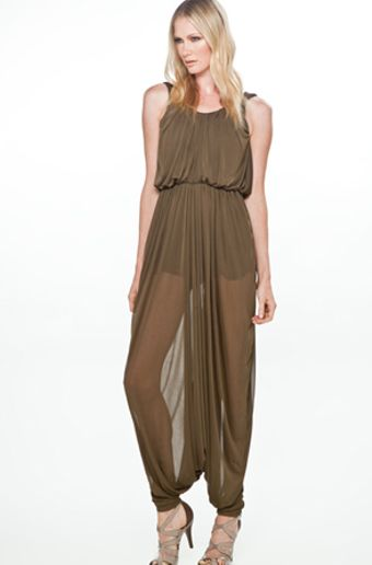 Halston Round Neck Sheer Jersey Ankle Jumpsuit in Olive - Lyst