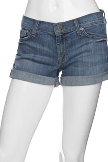 7 For All Mankind Roll Cuff Denim Shorts - Lyst