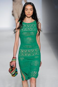 Alberta Ferretti Spring 2012 Green Knitted See Through Knee-Length Dress - Lyst