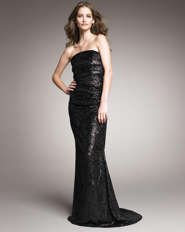 Black Velvet Strapless Dress