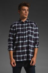 Cheap Monday Neo Shirt in Blue/white Check - Lyst