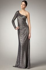 David Meister One-sleeve Jacquard Gown - Lyst
