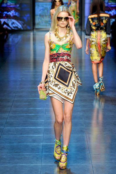 D&g Spring 2012 Scarf Wrapped Wedges  in Yellow - Lyst